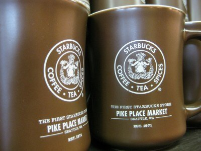 Souvenir mugs at the original Starbucks, Pike Place Market, Seattle (photo by Sheila Scarborough)
