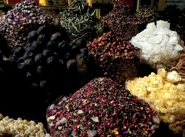 It's free to wander the souks - Spice Souk offerings in old Dubai (photo by Sheila Scarborough)