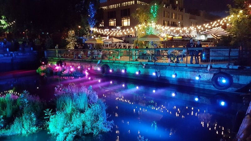 Spruce Street Harbor Park at night in Philadelphia (photo by Sheila Scarborough)