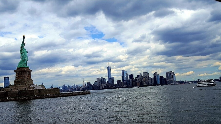 Statue of Liberty and New York skyline from Statue Cruises ferry (photo by Sheila Scarborough)
