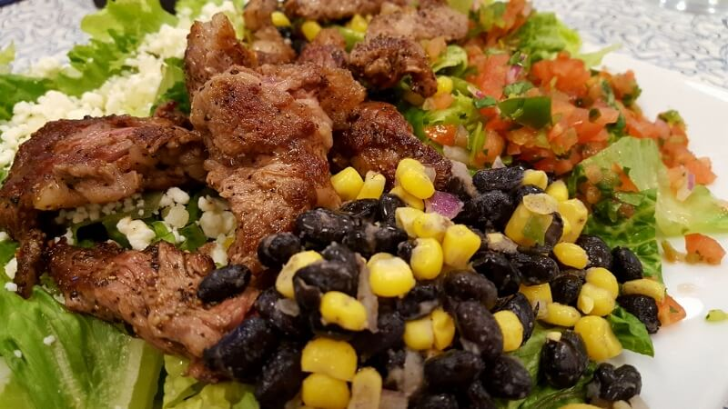 Steak salad at Hangar 6 Air Cafe in Uvalde TX (photo by Sheila Scarborough)