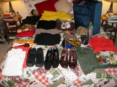 Everything I packed into a carry-on suitcase (photo by Sheila Scarborough)