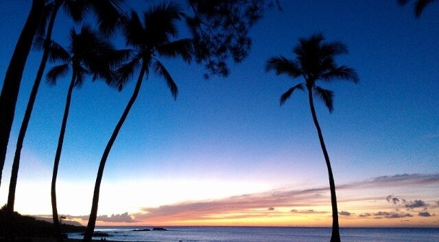 Sunset at Waimea Bay on Oahu's North Shore (photo by Sheila Scarborough)