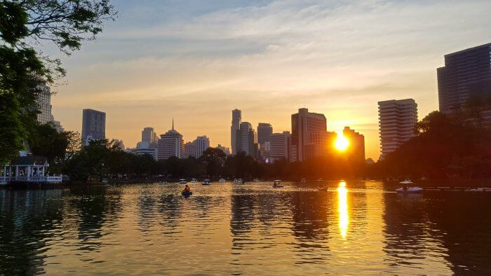 Sunset at Lumphini Park