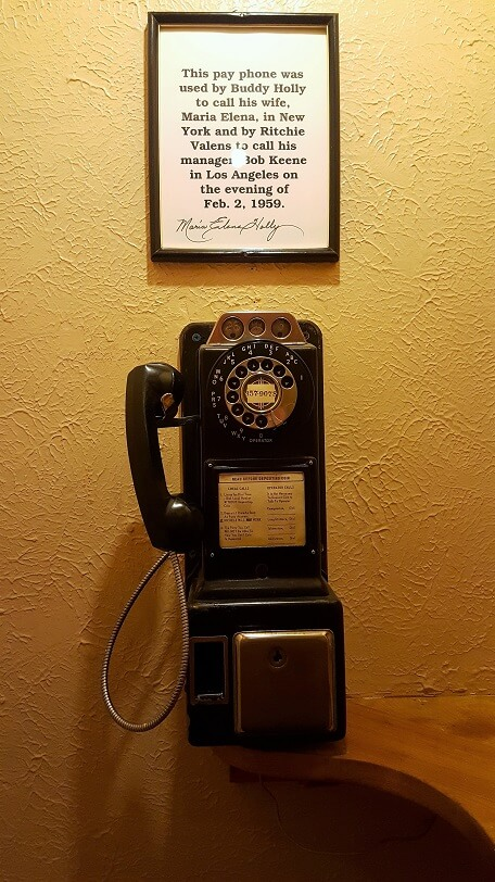 Surf Ballroom vintage pay phone (photo by Sheila Scarborough)
