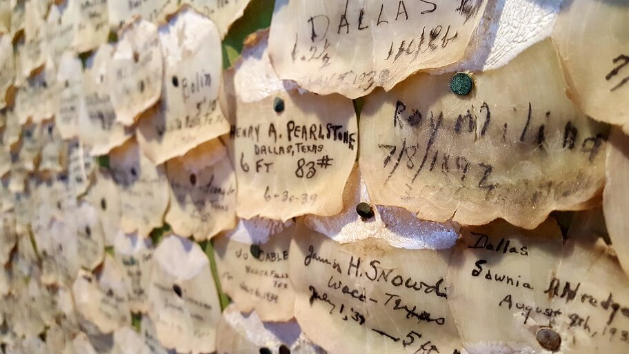 Tarpon scales from decades of fishing on the wall at Tarpon Inn Port Aransas late April 2018 (photo by Sheila Scarborough)