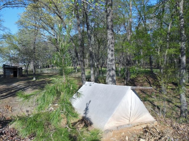 Tent at Camp Ford in Tyler TX (photo by Sheila Scarbo