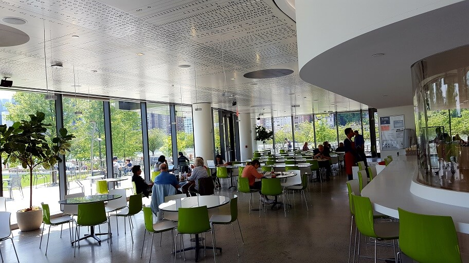 The Cafe at Cornell Tech's Bloomberg Building on Roosevelt Island New York City (photo by Sheila Scarborough)