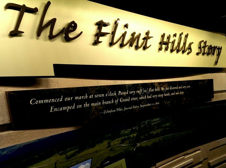 The Flint Hills Story sign at Flint Hills Discovery Center Manhattan KS (photo by Sheila Scarborough)