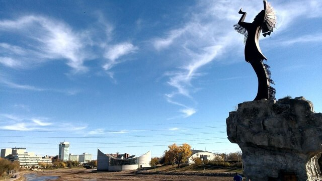 The Keeper of the Plains in Wichita Kansas (photo by Sheila Scarborough)