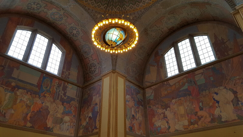 The Rotunda with murals and Zodiac Chandelier at the downtown Los Angeles Central Public Library (photo by Sheila Scarborough)