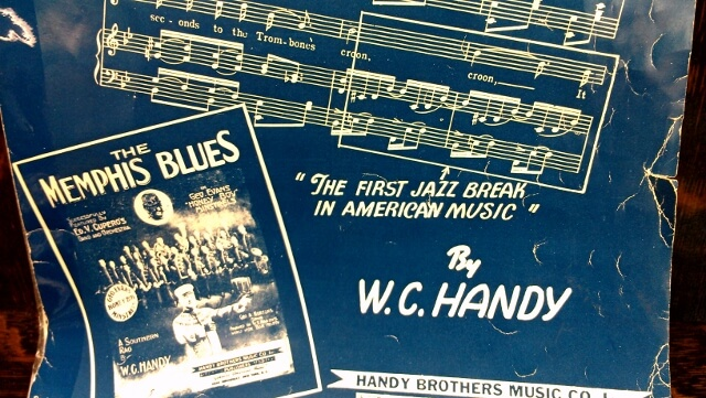 The first jazz break in American music says this WC Handy Memphis Blues score (photo by Sheila Scarborough)