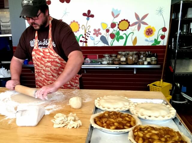 Main Street small businesses usually don't have lots of employees or help: the hard work behind the magic at Elsie Mae's Canning and Pies in downtown Kenosha, WI (photo by Sheila Scarborough)