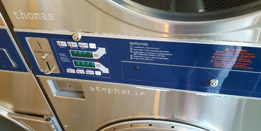 They name the machines at Tumbleweed Laundry in Marfa TX (photo by Sheila Scarborough)