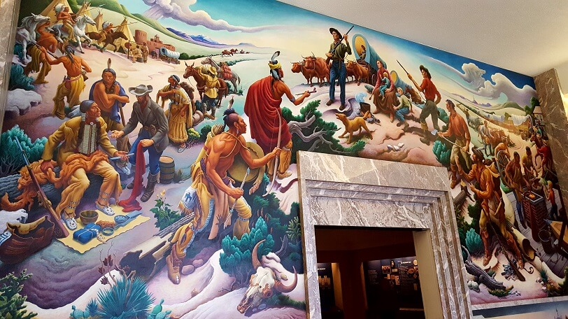 Thomas Hart Benton mural at entrance to Truman Presidential Library Independence MO (photo by Sheila Scarborough)