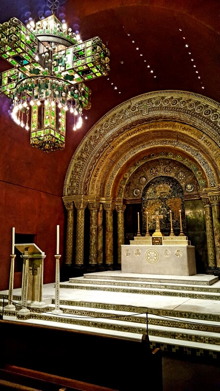 Altar area of the Tiffany Chapel from the 1893 Chicago World's Fair, now reassembled at the Morse Museum in Winter Park FL near Orlando (photo by Sheila Scarborough)