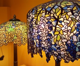 A couple of Tiffany stained glass lamps including Wisteria at the Morse Museum in Winter Park FL near Orlando (photo by Sheila Scarborough)