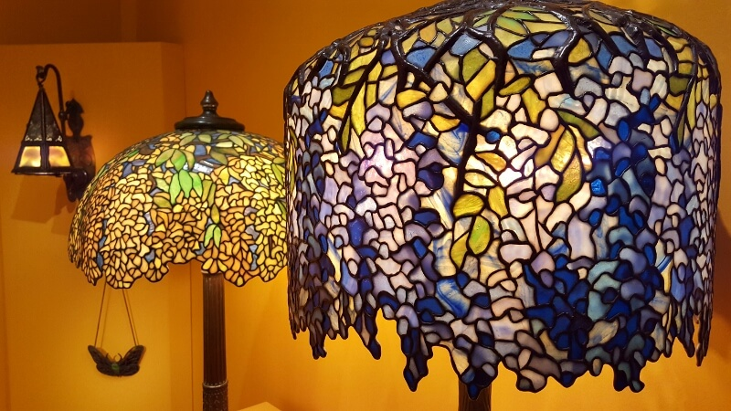 A couple of Tiffany lamps including Wisteria at the Morse Museum in Winter Park FL near Orlando (photo by Sheila Scarborough)