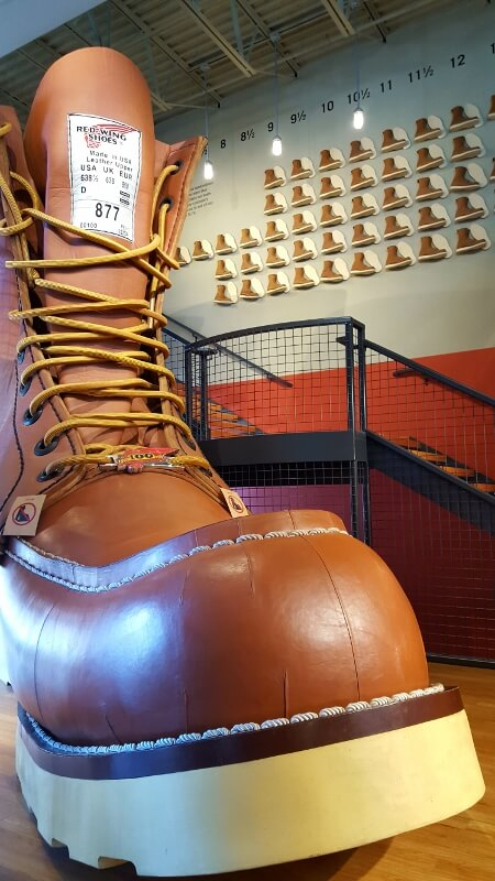Big toe perspective of the Big Boot at Red Wing HQ in Minnesota (photo by Sheila Scarborough)