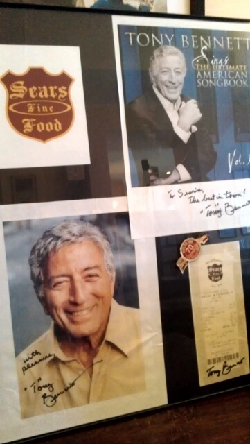 Tony Bennett memorabilia at Sears Fine Food San Francisco (photo by Sheila Scarborough)