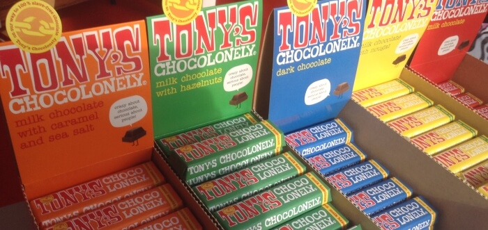 Chocolate bars at Tony Chocolonely chocolate makers in Amsterdam, The Netherlands