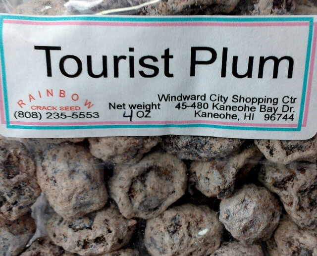 Tourist Plum Li Hing Mui bag closeup at Rainbow Crack Seed Kaneohe Hawaii (photo by Sheila Scarborough)