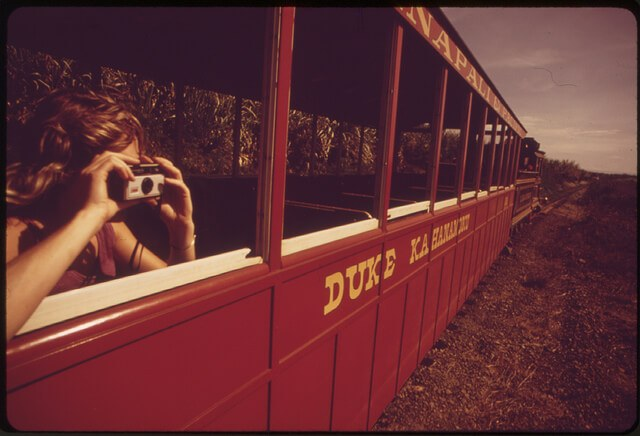 Tourist snapshots from sugar cane train near Lahaina, Maui circa 1973 (courtesy US National Archives at Flickr Commons)
