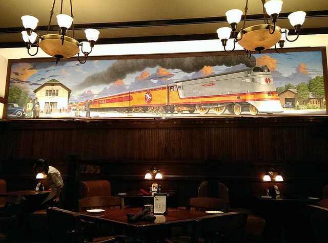 Train mural in Dave's Milwaukee Dinner Hotel Pattee Perry Iowa photo by Sheila Scarborough