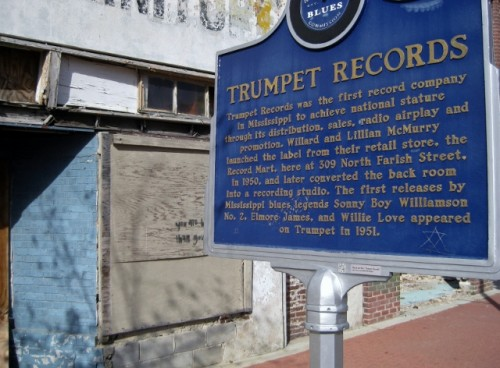 Trumpet Records historic sign on the Mississippi Blues Trail, Farish Street Jackson MS (photo by Sheila Scarborough)
