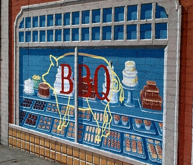 A small Richard Haas mural for the Twisted Q BBQ and Bakery in Homewood IL (photo by Sheila Scarborough)