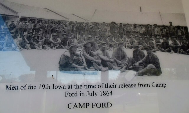 Union soldiers 19th Iowa upon release from Camp Ford Tyler TX July 1864 (photo by Sheila Scarborough from Camp Ford display placard)