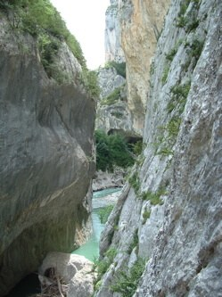 The River Verdon running through its steep gorge