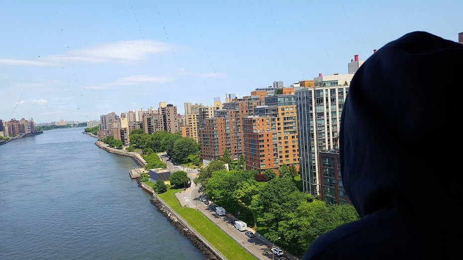 View of Roosevelt Island New York City from the aerial tramway (photo by Sheila Scarborough)