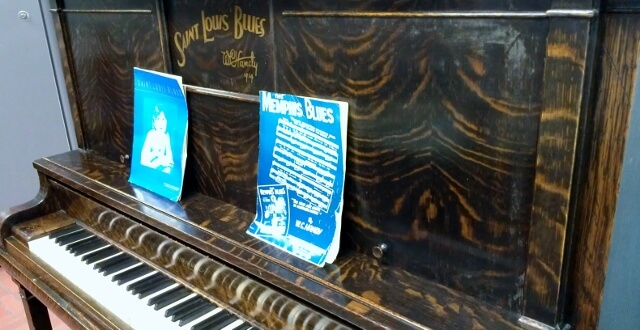 WC Handy's piano at his museum in Florence AL (photo by Sheila Scarborough)