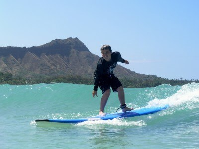 "Successful surfing lesson, Waikiki Beach, Hawaii (photo courtesy Don ""Lips"" Fujiyama and Aaron Char from Waikiki Beach Services)"