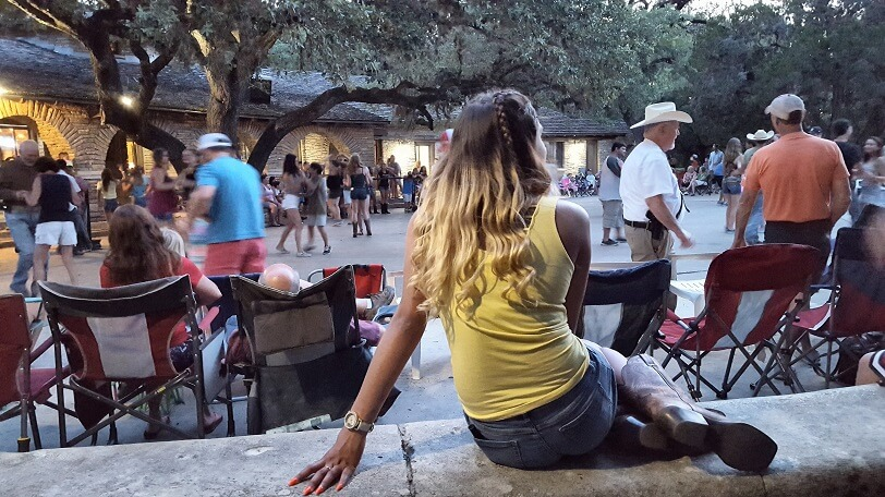 Waiting for the fun to start at Summer Jukebox Dance at Garner State Park near Uvalde TX (photo by Sheila Scarborough)