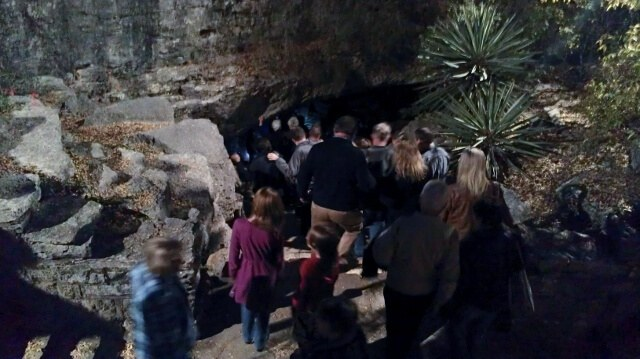 Going underground - walking down into Longhorn Cavern (photo by Sheila Scarborough)