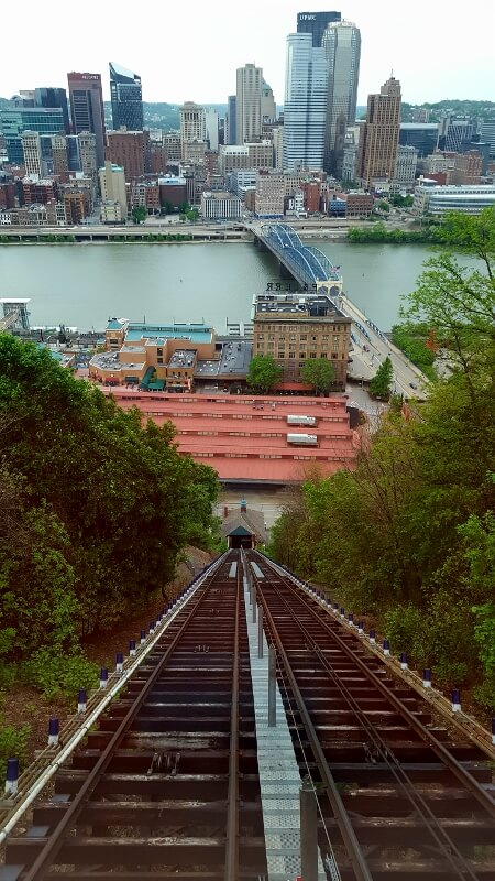What you see looking back down from the top of the Monongahela Incline car in Pittsburgh PA (photo by Sheila Scarborough)