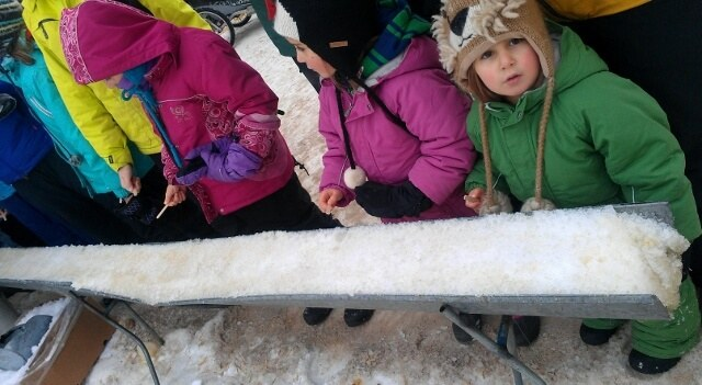Where's the maple syrup? Making maple candy at Silver Skate Festival Edmonton (photo by Sheila Scarborough)