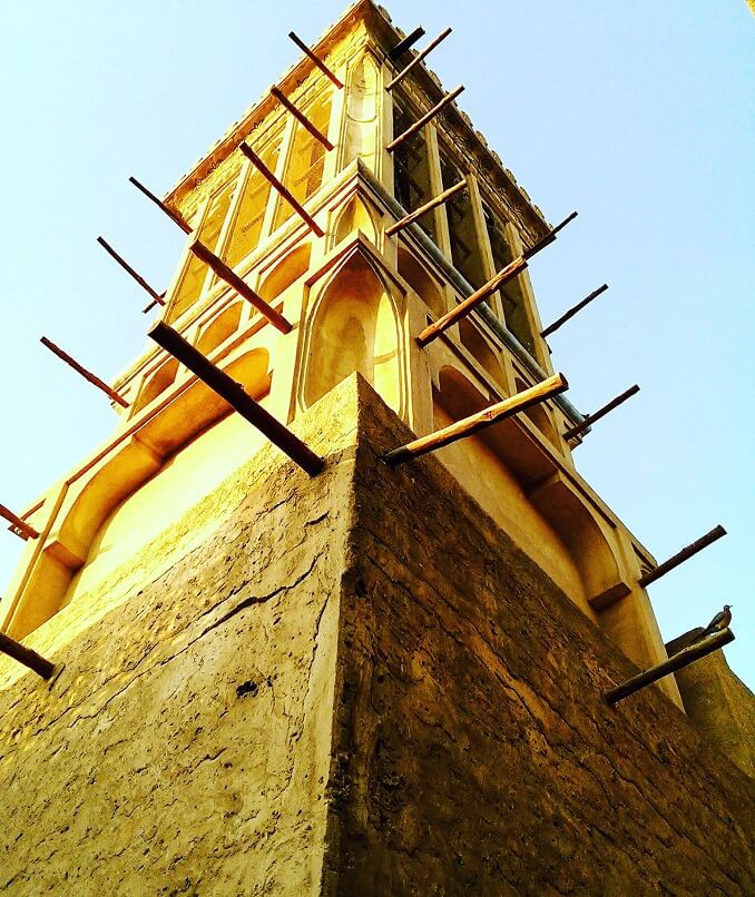 Wind tower barjeel traditional Arab architecture, Al Fahidi or Bastakiya neighborhood in Dubai (photo by Sheila Scarborough)