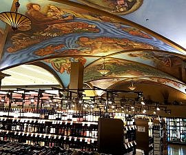 Wine and painted ceilings at a great place to eat in downtown Kansas City MO Cosentino's Market (photo by Sheila Scarborough)
