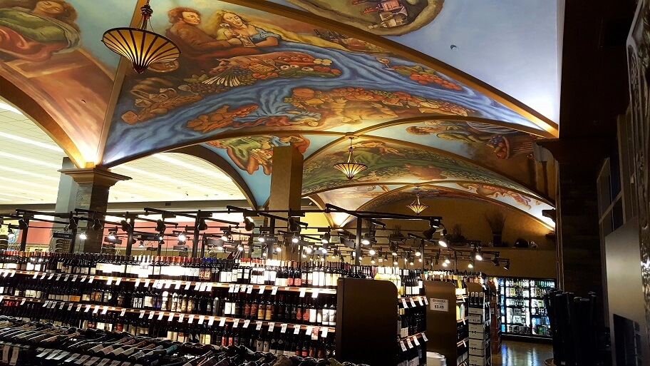 Wine selection and painted ceiling Cosentinos Market downtown Kansas City MO (photo by Sheila Scarborough)