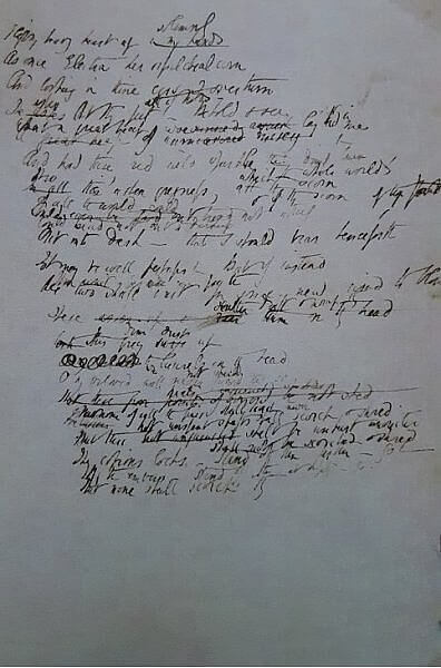 Working draft Sonnet 5 1844-5 Sonnets From the Portuguese Armstrong Browning Library Waco TX (photo by Sheila Scarborough)