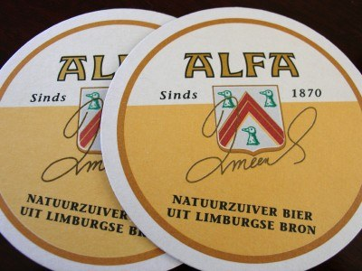 Beer coasters from the Alfa Brouwerij (Brewery) in Schinnen, the Netherlands (Scarborough photo)