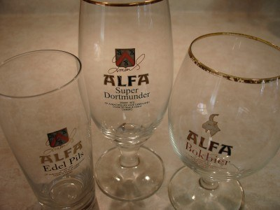 Promotional beer glasses from Alfa Brouwerij (Brewery) in Schinnen, the Netherlands (Scarborough photo)