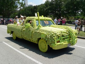 Art Car Parade, Houston Texas, the tennis ball car (courtesy Neurofibromatosis-Reggie Bibbs on Flickr CC)