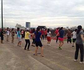 Group fitness class in Cambodia