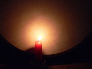 candle and bodhran
