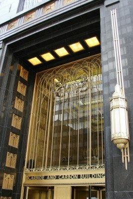 Carbide & Carbon Building, Michigan Ave entrance, Chicago IL (Scarborough photo)