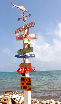 Directions sign Cayman Islands